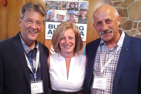 Jack White, Assistant to the General President, IUPAT; Premier Rachel Notley, Alberta; John Sedor, BM/ST IUPAT District Council 17