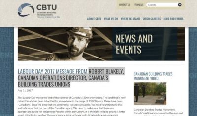 Labour Day Message, September 2017, Robert Blakely, Canadian Operations Director, BTA