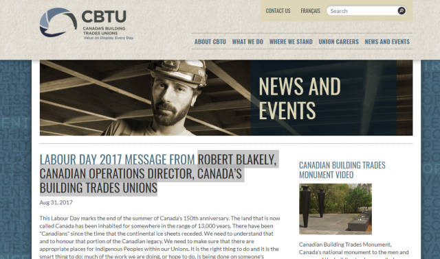 Labour Day Message, September 2017, Robert Blakely, Canadian Operations Director, BTA