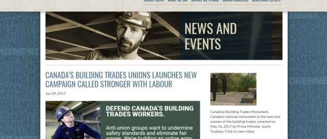CANADA'S BUILDING TRADES UNIONS LAUNCHES NEW CAMPAIGN CALLED STRONGER WITH LABOUR