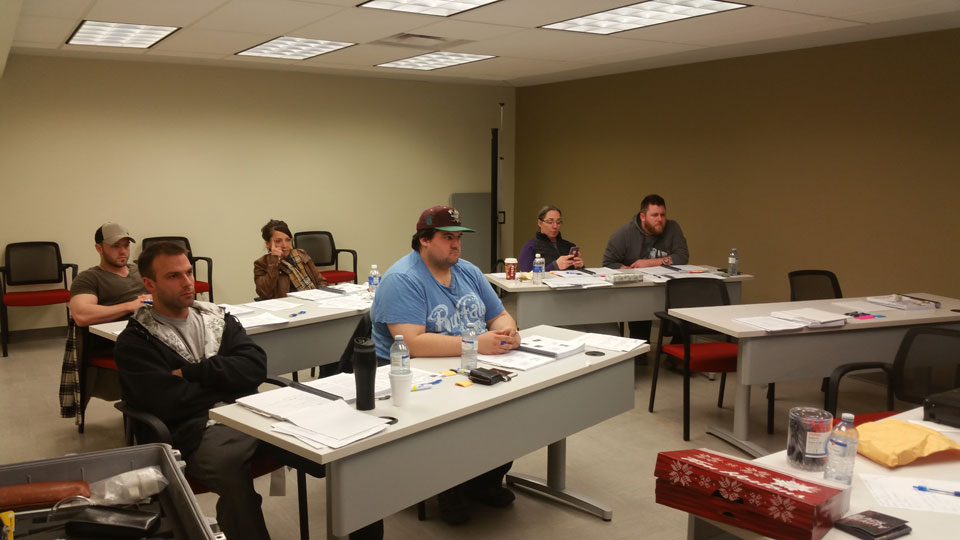 at class room during SSPC C1 Fundamentals of Protective Coatings session in Ft McMurray
